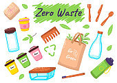 Go to zero waste. Lunchbox and cutlery. Reusable, organic, natural bags and personal hygiene product