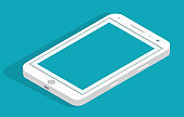 Smartphone icon in flat design style on blue background. mobile phone symbol. Vector illustration