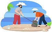 Woman is removing plastic and paper waste with rake. Male character throwing bottle in trash bag