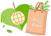 Eco-friendly reusable bag with green products. Zero waste collection. Bio concept, no plastic