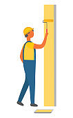 Man Working on Repairing Wall, Painting Roller