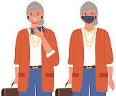 Female character is putting on a mask. Coronavirus, quarantine, self-isolation, pandemic, virus