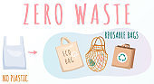 Reusable cloth packages instead of plastic containers vector illustration. Zero waste concept