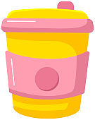 Reusable cup, tumbler or mug with cover isolated on white background. Thermos for take away drinks