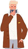 Male character is taking off a mask. Coronavirus, quarantine, self-isolation, pandemic, virus
