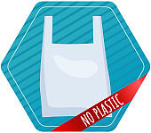 No plastic in world. Sign prohibiting use of plastic packaging, environmental pollution problems