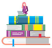 Books Pile and Student on Top with Laptop Icon