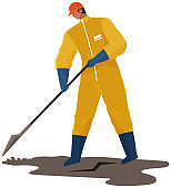 Male character in protective suit collects polluting oil. Volunteer is cleaning dirty area