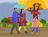 Family walking in the rain with umbrella and wearing raincoats in the city park in autumn season