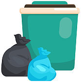 Garbage container refuse sorting concept. Zero waste lifestyle. Big trash can, waste disposal bags