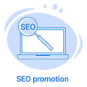 The SEO promotion and search engine icon
