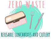 Reusable lunchboxes and cutlery, food container with text. Pack your launch in reusable box
