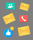 Contact information icons for business card and website. Web, blog and social media colorful signs