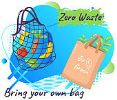 Fabric eco-friendly reusable bag with products. Zero waste collection. Eco concept, no plastic