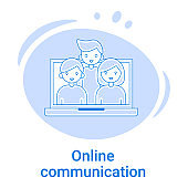 Icon of Online communication and virtual communication