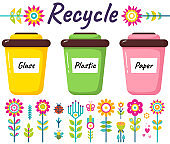 Recycling or reuse. Garbage sorting. Different color recycle bins with glass, plastic and paper