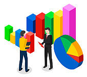 Volumetric image of symbolic bar and pie charts. Volumetric colorful diagrams. Men with clipboards