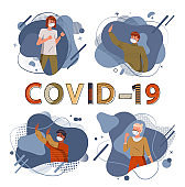 Set of illustrations with multinational people wearing respiratory medical masks, concept of covid19