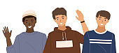 Group of people is waving hands. Male character standing next to the men vector illustration