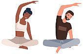 Home workout. Young couple doing yoga isolated on white. Sports exercises and stretching, pair yoga