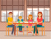 Family Eating Out, Parents and Kids in Cafe Vector