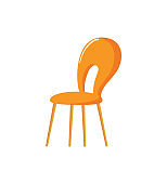 Orange Chair, Hole in Back of Hard Sit Vector