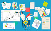 People with Documents and Infocharts Business