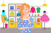Shopping Woman in Store with Clothes for Ladies