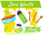 Go to zero waste. Lunchbox and cutlery. Plastic and glass bottles. Reusable natural ecology items