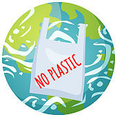 No plastic in world concept. Harm from non-degradable items. Clean big planet and environment