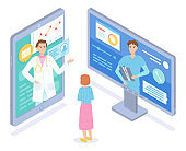 Isometric consultation conference of two doctors, physicians with patient at medical website, app