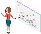 Business analyst, statistics. Professional businesswoman analyzing growth rates on data presentation