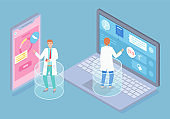 Isometric illustration of laptop, smartphone, online consultation with doctor, medical app
