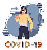 Brunette woman in medical mask call to stop spreading coronavirus, world epidemy of covid19