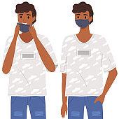 Indian man is using a medical mask. Coronavirus, quarantine, self-isolation, pandemic, virus