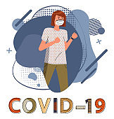 Woman in respiratory mask at the abstract background, stop spreading covid19, world epidemic