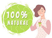 Natural Products Organic Food Woman with Tea Cup