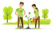 Volunteers Plant Tree in City Park. Vector People
