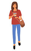 Woman in Jeans and Red T-shirt with Cup of Coffee