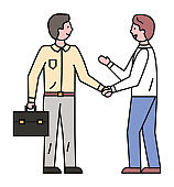 Employees Shaking Hands for Successful Deal Vector