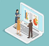 Man and woman employees cooperating and discussing business graph and diagram report on big laptop