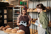 Young women working in the bakery