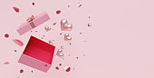 3D of Valentine's hearts with empty open gift box for your products for Happy Women's Day, Mother's Day, Birthday.