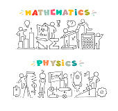 Math and Physics subjects with little people
