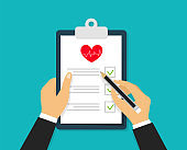 Signing medical notes. Hands holding and signing contract paper with pen. Sign agreement. Doctor or patient signs agreement document. Modern concept for web banners, websites. Vector