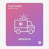 Ambulance with siren. Thin line icon. Medical transport. Emergency. Pixel perfect, editable stroke. Vector illustration.
