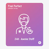 Nursing care, medical staff 24 hr. Man in uniform and surgical mask. Thin line icon. Pixel perfect, editable stroke. Vector illustration.