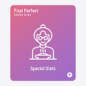 Special diet for elderly person in nursery home. Thin line icon. Grandmother in eyeglasses with bowl of hot food. Pixel perfect, editable stroke. Vector illustration.