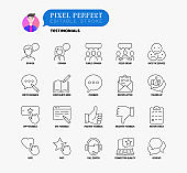 Testimonials thin line icons set: user opinion, group opinion, focus group, rate service in app, positive and negative feedback, review, voting, complaints book, call canter.  Pixel perfect, editable stroke. Vector illustration.