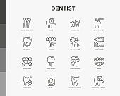 Dentist thin line icons set: dental instruments, caries under magnifier, orthodontics, tooth extraction, veneers, tooth whitening, implant, braces, calculus, ultrasonic cleaning. Vector illustration.